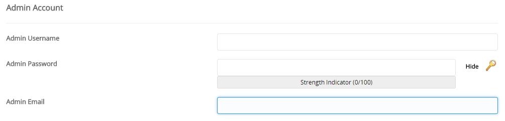setting admin account ketika install wordpress