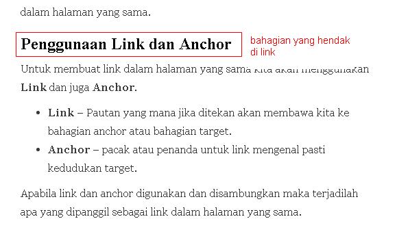 membuat id untuk bahagian yang hendak dibuat link
