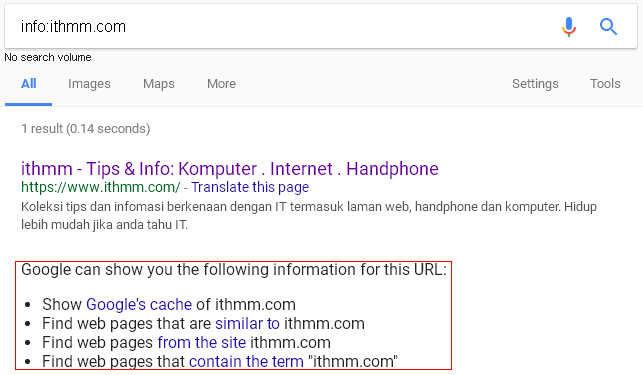 penggunaan operator info dalam pencarian google