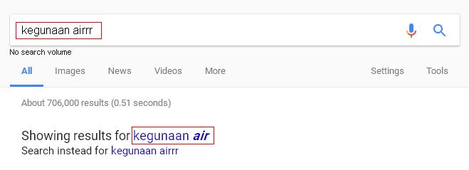 pembetulan automatik dalam google search