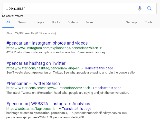 pencarian hastag di google search