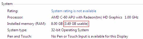 batasan RAM pada windows 32 bit