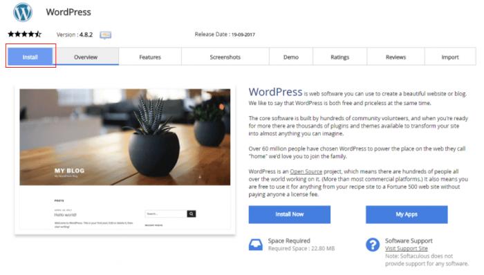 paparan utama sewaktu install wordpress