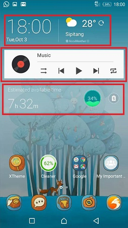 widget pada homescreen handphone android