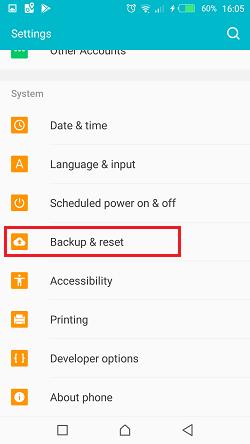 setting backup reset