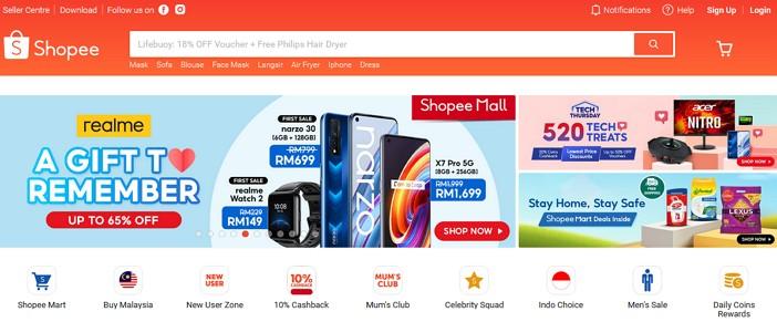 laman web online shopping shopee Malaysia