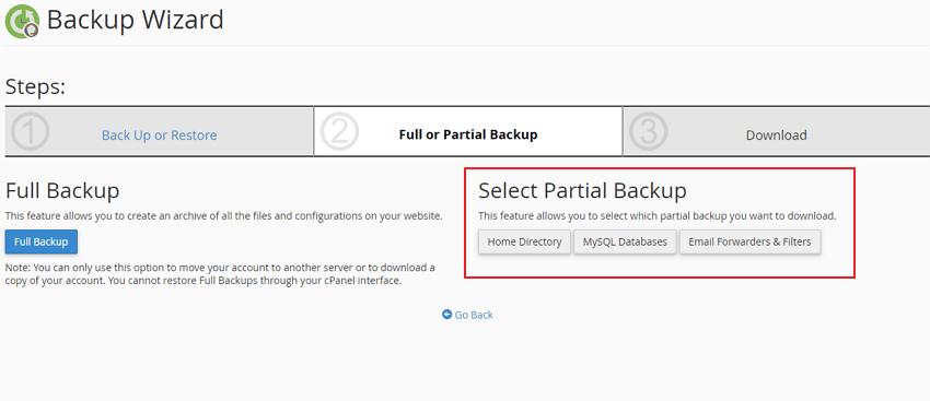 bahagian partial backup