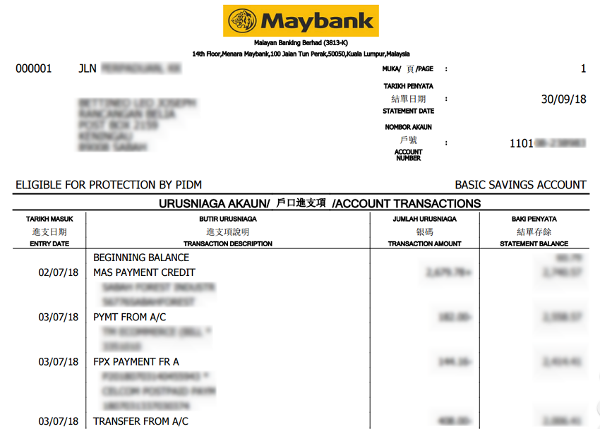 contoh bank statement