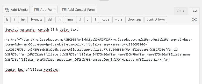 wordpress contoh paparan text