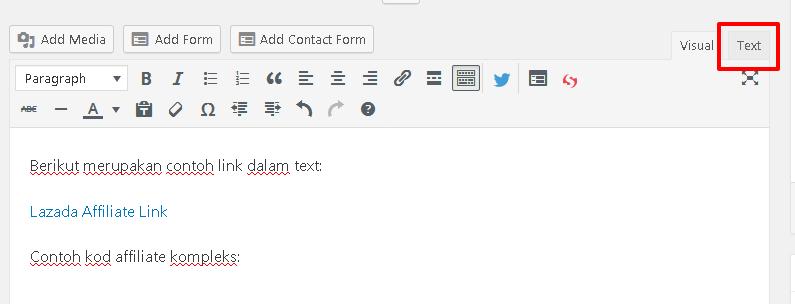 wordpress visual ke text