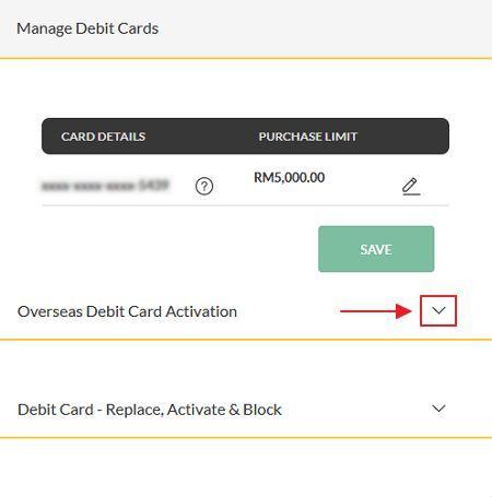 bahagian debit card activation