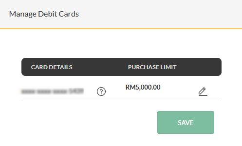manage debit card