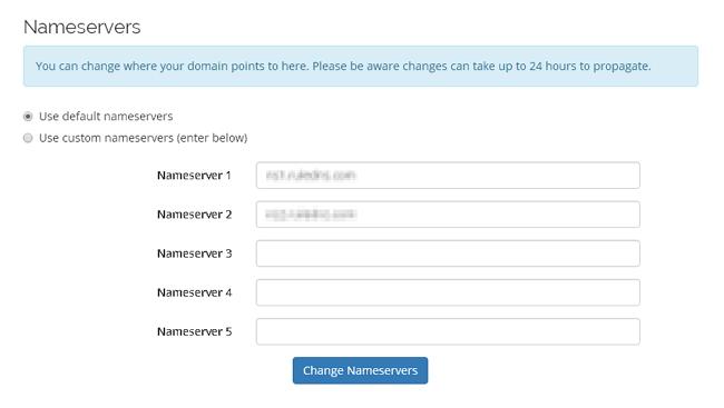 bahagian setting nameserver pada domain