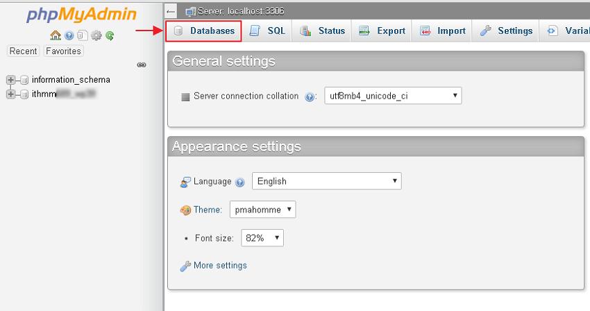 lokasi menu databases