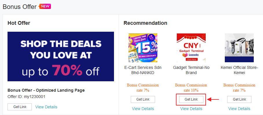 get link pada bonus offer