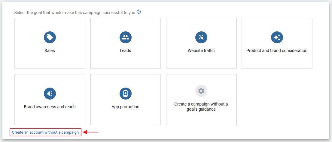 setting untuk buat akaun Google Ads baru expert view