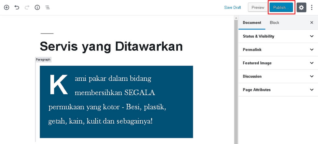 butang publish post page