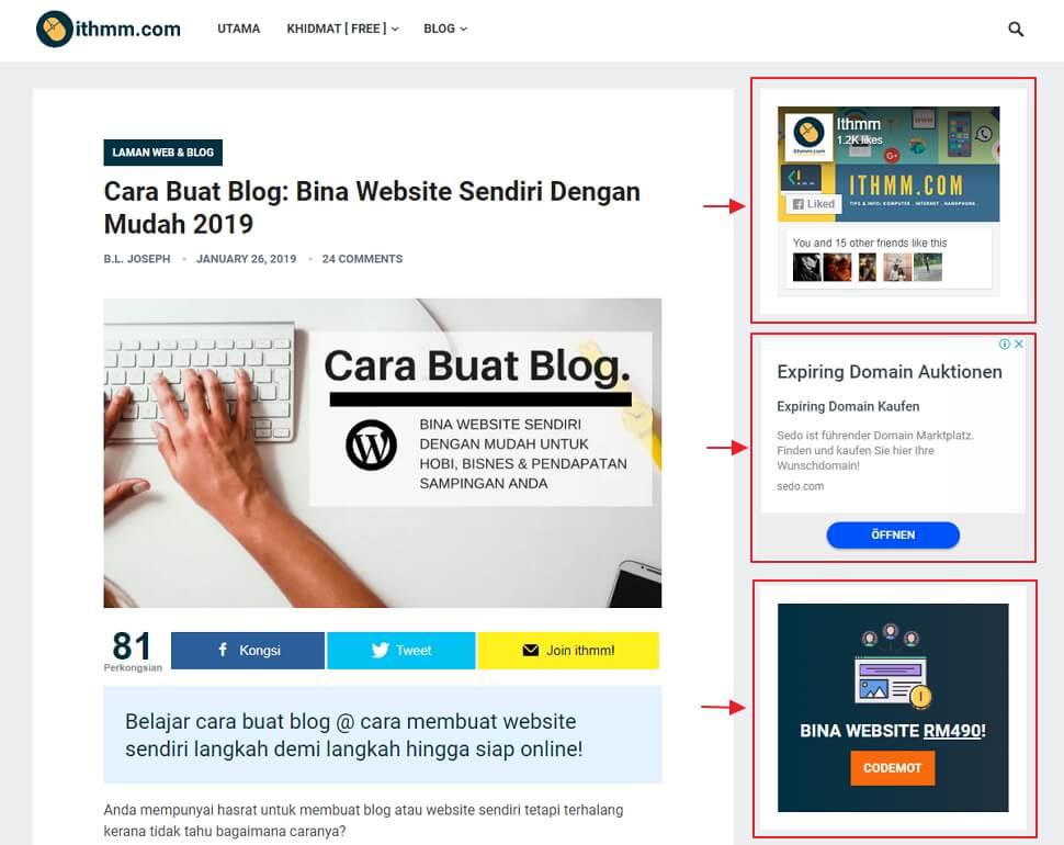 contoh widget dalam blog