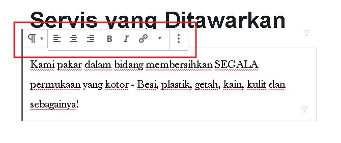 pilihan edit text page