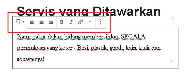 pilihan edit text page
