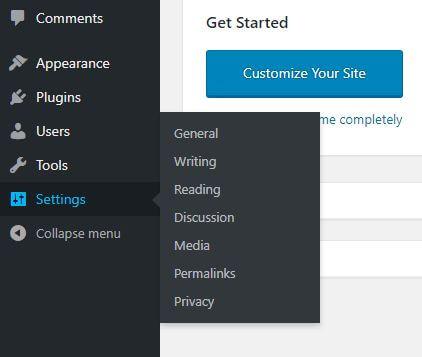 setting utama pada wordpress