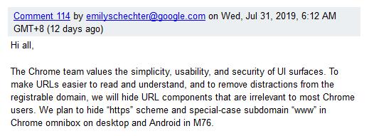 alasan google sembunyikan url penuh
