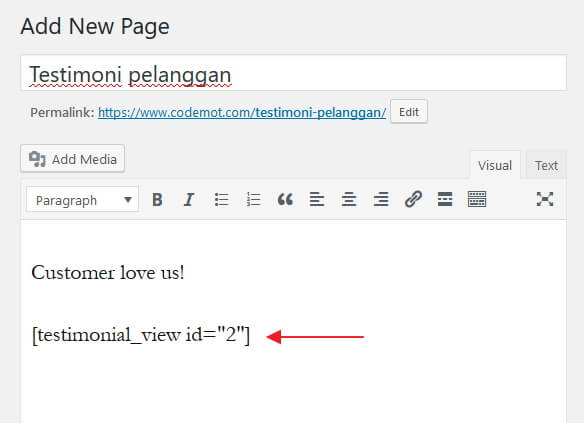add shortcode to page