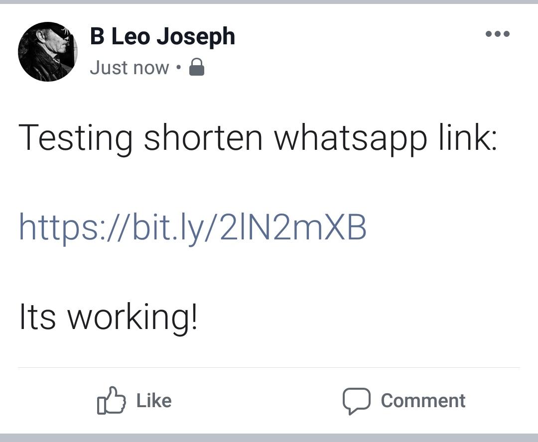 contoh shorten whatsapp link di fb