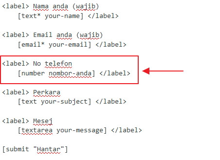 contoh cara label contact form 7