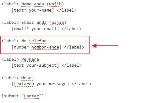 contoh cara label contact form 7