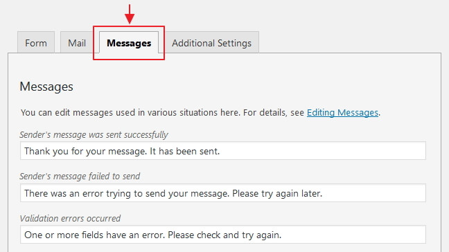 edit messages contact form 7