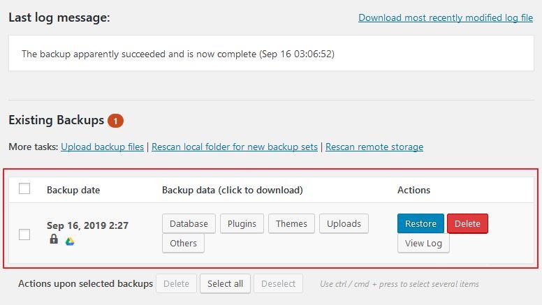existing backups