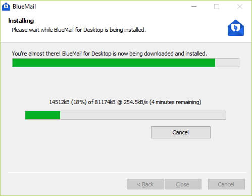 proses install dan muat turun bluemail