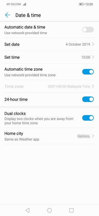 setting date time smartphone