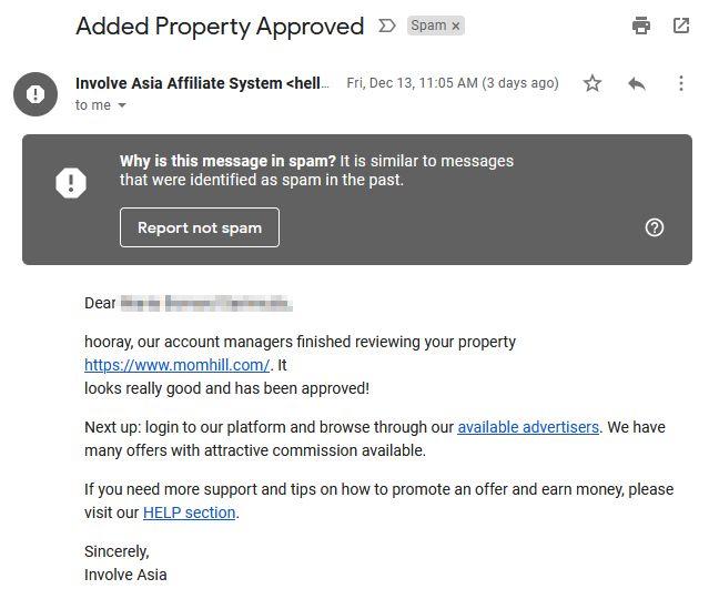 email kelulusan involve asia dikategorikan sebagai spam