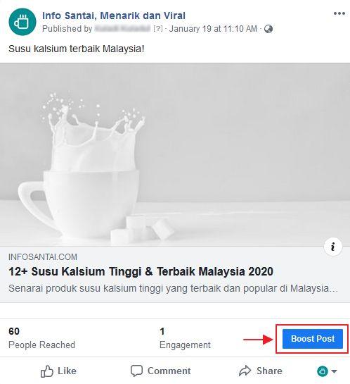 butang boost post dalam post facebook page