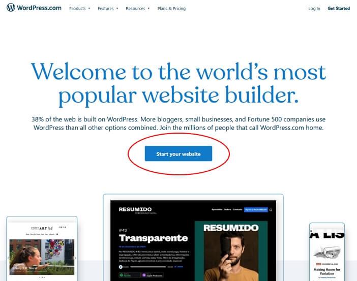 butang start website wordpress dot com