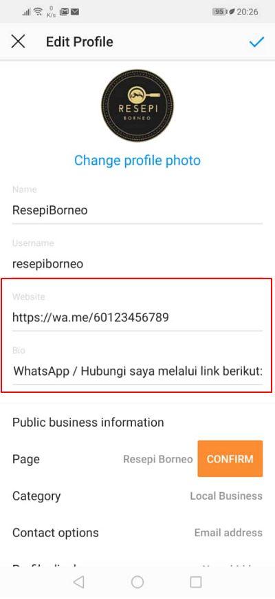 cara letak link whatsapp dalam instagram