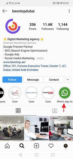 link whatsapp dengan ikon di profile instagram