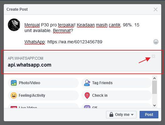 paparan preview whatsapp link dalam facebook post