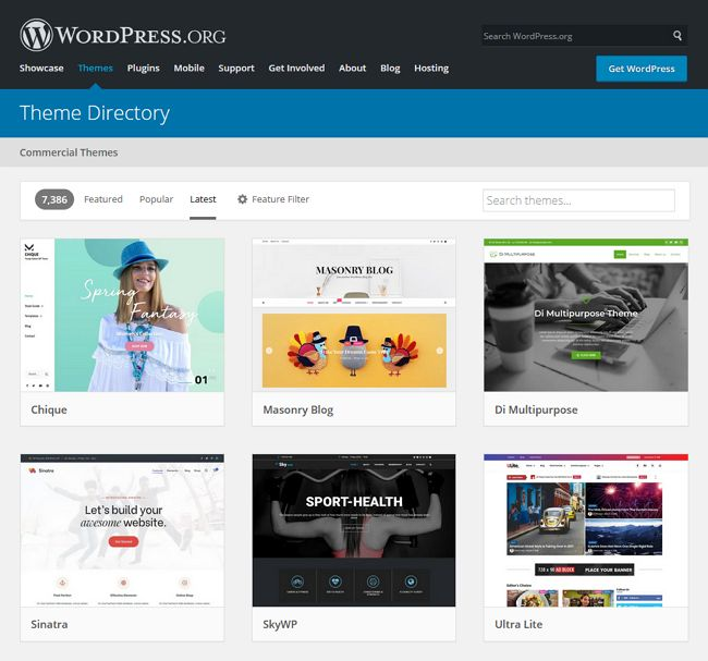 pilihan theme wordpress org