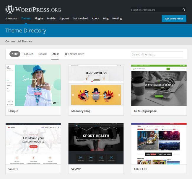 pilihan theme wordpress org
