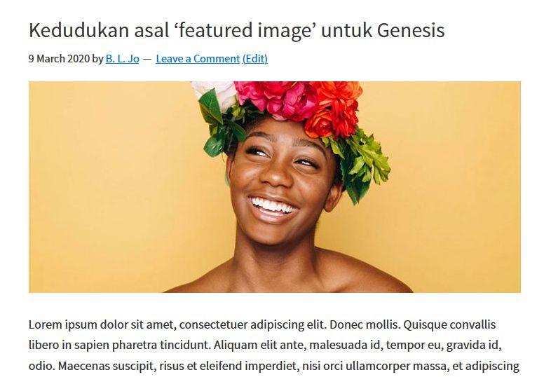 kedudukan asal featured image di genesis