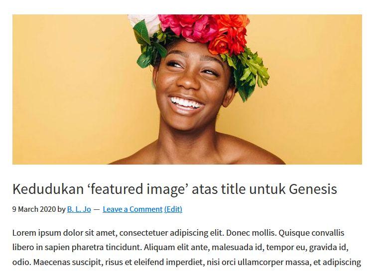 kedudukan featured image atas tajuk post untuk genesis