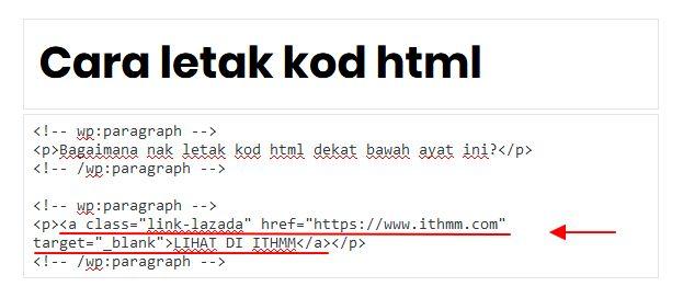 contoh kod html dalam post