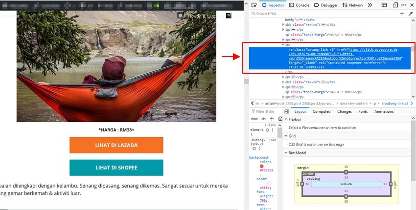 struktur element html target yang nak dibuang
