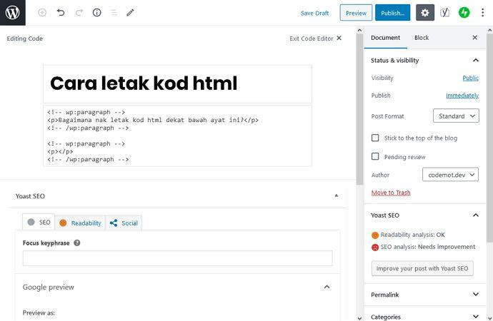 paparan code editor