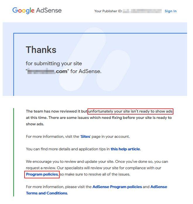 permohonan google adsense ditolak