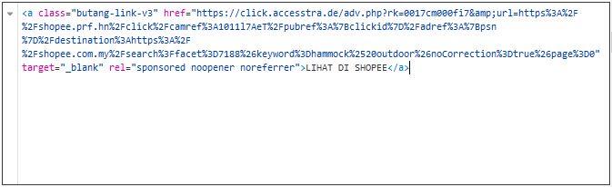 contoh struktur target elemenet html yang nak dibuang