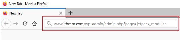 taip masuk module jeptpack ke url browser